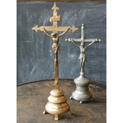 Krucifiks Messing INRI [39x15cm] Antik