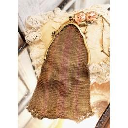 Antik Fransk Messing/Bronze Taske med Blå sten