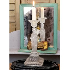 Gl. Glas lysestage JESUS [H25,5cm]