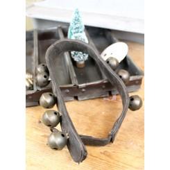 Antik Fransk Læderrem med Bjælder [8 stk]
