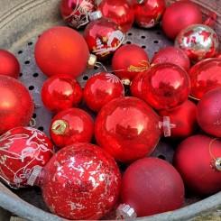 Gl. Julekugler RØDE [25stk] Lot