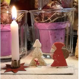 Gl. Julepynt JULEMAND med Lysestage