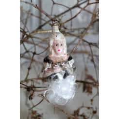 Antik Julepynt Glas KVINDE m. Glastråd