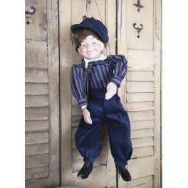 Vintage Marionetdukke DRENG med Rygsæk [ca 60cm]