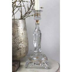 Gl. Glas lysestage MARIA [H30cm] Guld