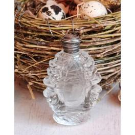 GL Parfumeflakon Præget Glas  [H7,5cm] Sølvlåg