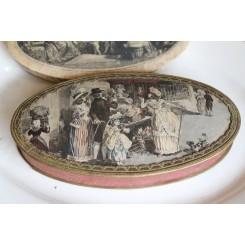 Fransk Chokolade Æske Oval [Motiv med Bånd] ~1900