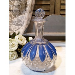Gl. Parfumeflakon BLÅ/HVID GLAS [H22cm] Krystalglas*