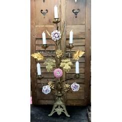 GL Fransk Kirkestage med 4 x porcelænsblomster [H68cm]