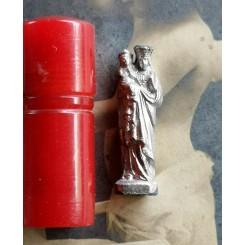 Lommealter Lommefigur Rød Cylinder [Madonna m. Barn]
