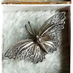 Gammel Vintage Broche Sølv FILIGRAN [Sommerfugl]