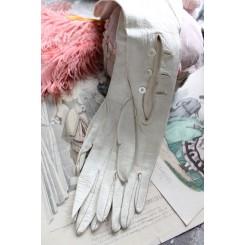 Franske VINTAGE HANDSKER i Offwhite Skind [med Knapper]