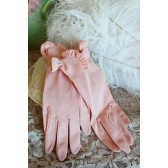 VINTAGE Handsker i ROSA og med Flæser
