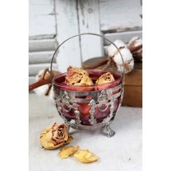 Gl. Candyskål/Sukkerskål [H16xØ10,5cm] Tranebærsfarvet Glas