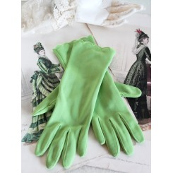 VINTAGE Handsker i LIMEGRØN [med Bølget kant]