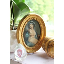 Gammelt Ovalt Billede [Ø20x15,5cm] på silke