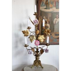 GL Fransk Kirkestage Høststage [H68cm] 4 Porcelænsblomster