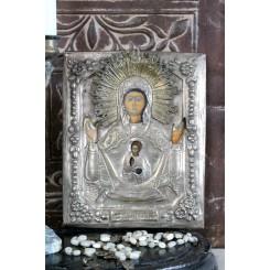 Antik Russisk Ikon Icon Sølvbeklædning [H23x18,5cm]