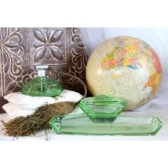 Gl. Parfumesæt Boudoir [Grønt glas] |3 Dele