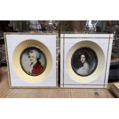 2 x Miniature Billeder [Perlemor] Mozart & Frue