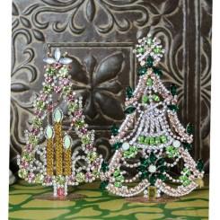 Juletræer med Rhinsten KLAR/GRØN [H18,5cm] Bling-Bling