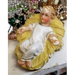 Gammel Figur Jesusbarn [H8x11cm] Gips