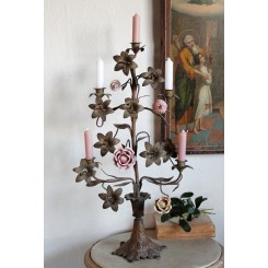 Antik Fransk Kirkestage med 4 Porcelænsblomster [H62cm]