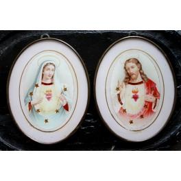 GL. Religiøse Billeder JESUS & MARIA [Ø12,5x10cm] PAR