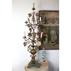 Antik Kirkestage 5-armet [H100cm] 4 x Porcelænsblomster