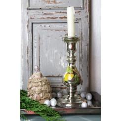 Antik Fattigmandssølv Lysestage med Blomstermaling [H21cm]