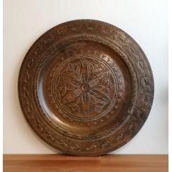 Vintage Fad i Træ Messingdekoration [Ø39,5cm]