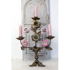 Antik 3-Armet Fransk Kirkestage Porcelænsblomster [H39x30cm]