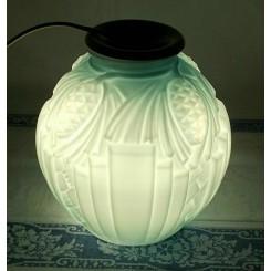 Gammel Fransk Lampe Turkis Opalglas [H21cm] ART DECO