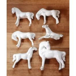 6x Gamle Heste Porcelæn [H8cm] Samlet