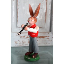 Påskepynt HARE med klarinet [18,5cm] Erzgebirge*