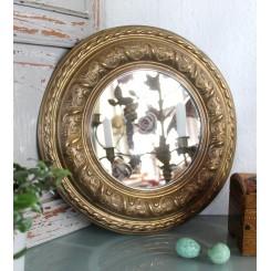 Gammelt rundt spejl messingramme [Ø-32,5cm] ~1900'