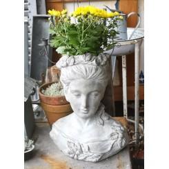 Fransk plantekrukke buste Athena [H39cm] Beton