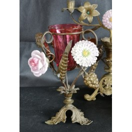 Sjælden Fransk Altervase Alterlysestage [1895] Porcelænsblomster