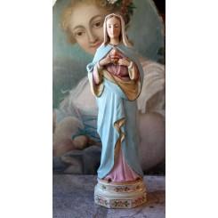 Gammel Madonna Porcelæn [H43cm] Maria Hjerte