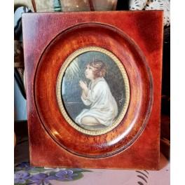 Gl. Miniature Billede [Bedende barn] 14,5x12,5cm