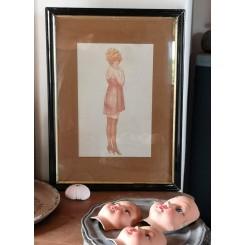 Gammelt fransk billede KVINDE [29x39cm] Boheme