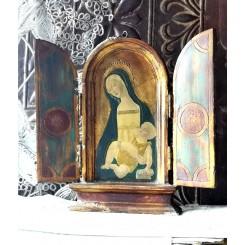 Antik Ikon Icon Triptykon [H22,5cm] Alter