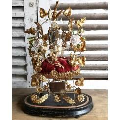Antik Brudeglobe Garniture [GLOBE DE MARIEE] Porcelænsblomster