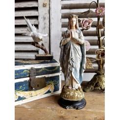 Gammel Madonna Bedende [H30cm] med Krans