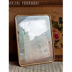 Gammelt Fransk Barberspejl [20x15cm] med patina*