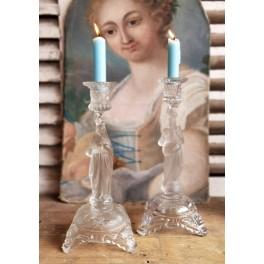 Gl. Lysestager Glaslysestager Materet glas  Pr. stk [~1900]