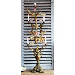 Antik Fransk Kirkestage til 5 Lys [H106cm] 6x Porcelænsblomster