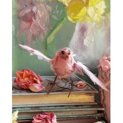 Gl. fransk Fugl ROSA FJER