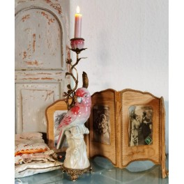 Unik Lysestage Ormolu Porcelæn KAKADUE [H42cm]