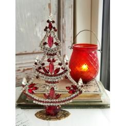 Juletræer med Rhinsten  [H17,5cm] PINK/KLAR Bling-Bling